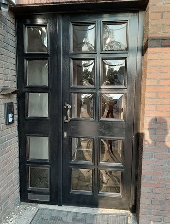 Usa casa firma vila intrare dubla lemn geam termo bombat H 233 x L 152