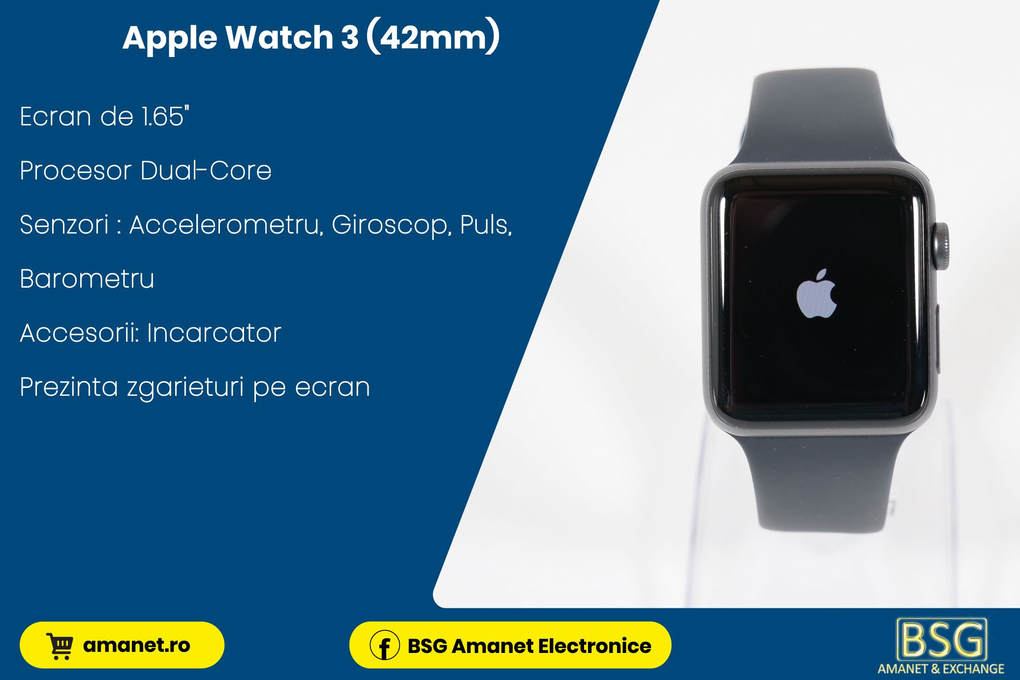Smartwatch Apple Watch 3 (42mm) - BSG Amanet & Exchange