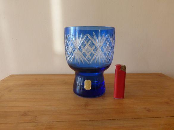 Синя кристална ваза дизайн Karin Grigat Германия 1970 г