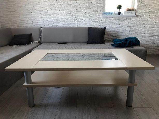 Masa sufragerie cafea din lemn masiv si sticla