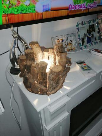 Lampa/veioza din lemn , tematica rustica!