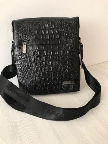 Стилна мъжка чанта тип крокодил Armani от естествена кожа