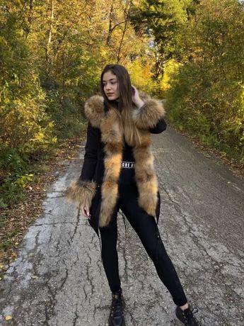 Дамско палто естествен косъм от лисица