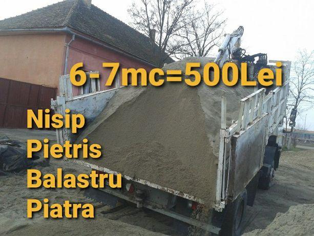 Oferta 6-7mc=500 lei nisip balast pietriș pământ moloz marfă transport