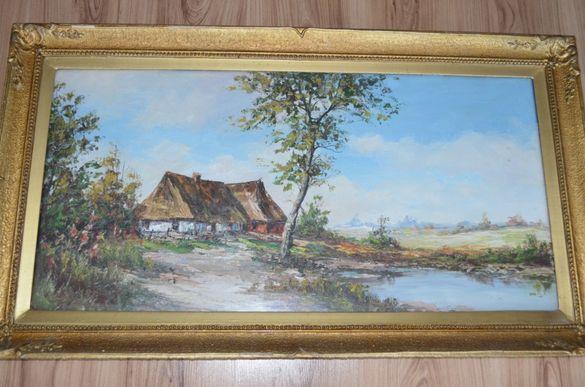 Селска къща - маслени бои