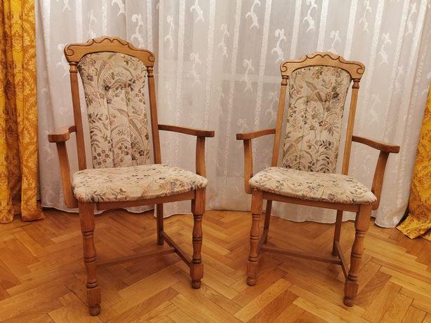 Set două scaune lemn tapițate, gen jilț, fotoliu
