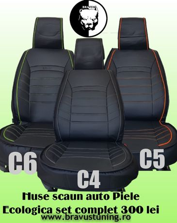 Huse scaun auto Piele Ecologică SET COMPLET ORLANDO