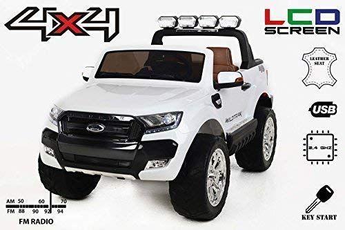 Masinuta electrica pentru 2 copii Ford Ranger 4x4 cu LCD #White Matt
