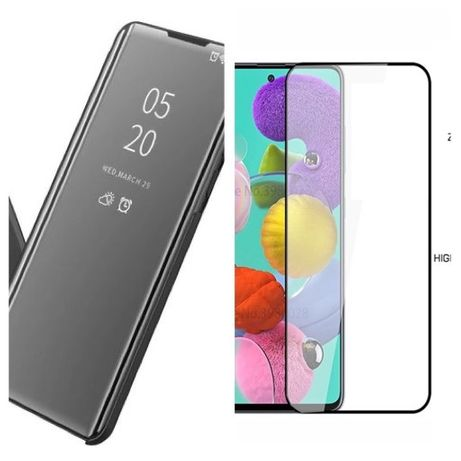 Flip Case Clear View si Folie Sticla 11D Samsung A41 A51 A71 A21S A12
