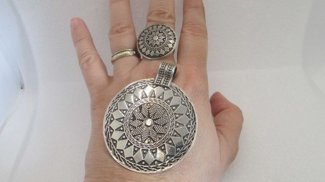 Set tribal argint inel pandantiv 41 grame transport inclus