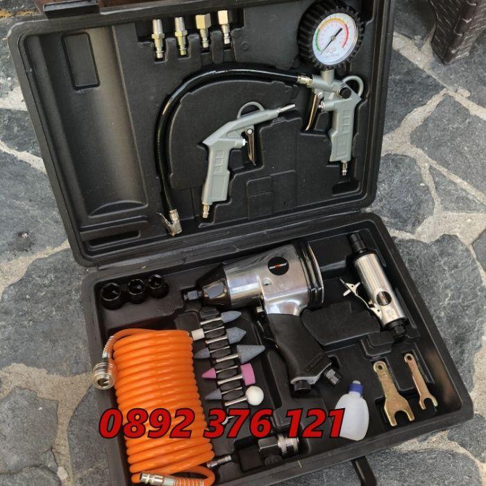 Пневматичен гайковерт + инструменти 27 части в куфар