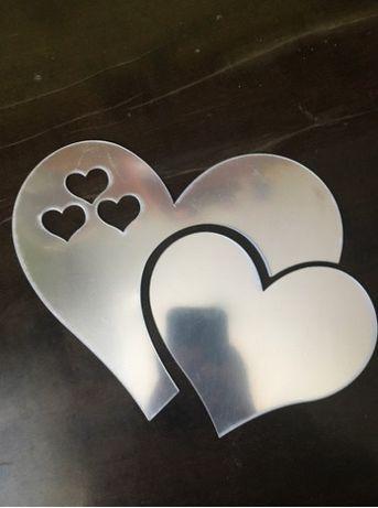 Стикер огледални сърца