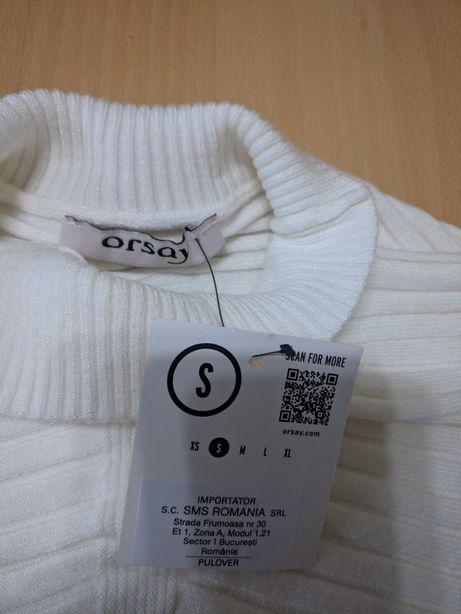 Pulovar alb,tip liliac, marca Orsay- nou, cu eticheta