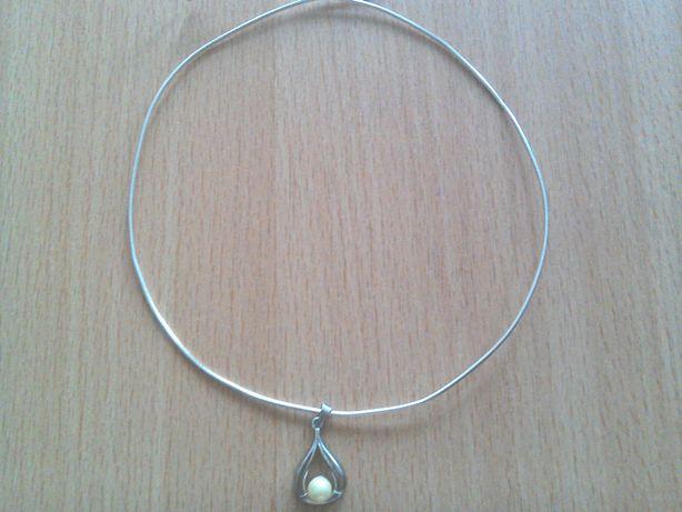 Lanț argint, marcat 925, cu pandant argint 925 cu perlă naturală