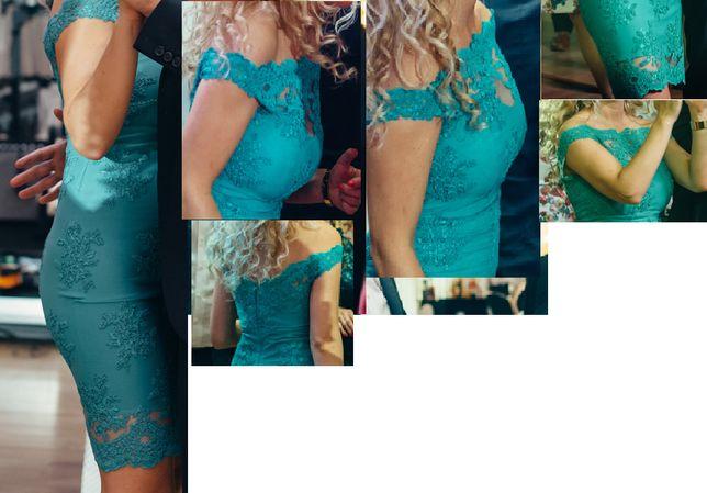 Rochie nunta/botez turcoaz /verde intens