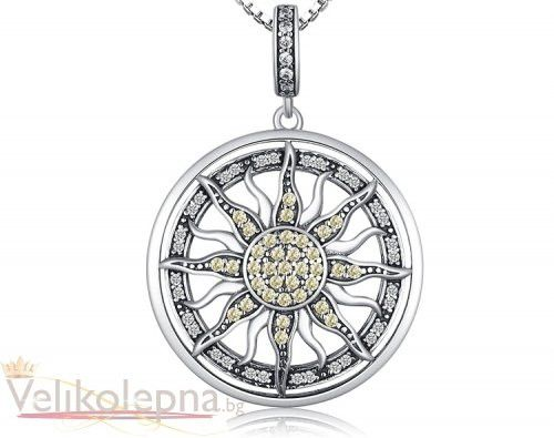 """Колие от масивно сребро 925 с цитрини """"Слънце"""""""
