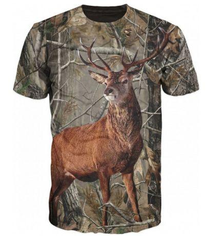 Мъжка тениска с камуфлаж с елен