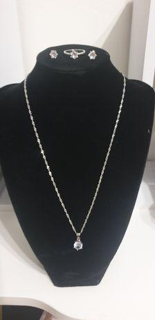 Set lant, pandantiv, cercei, inel, argint 925