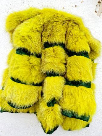 Жестоко дамско палто естествена кожа и естествен косъм лисица М размер