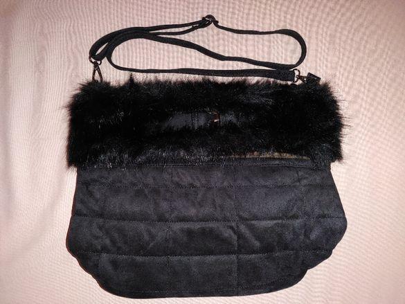 Дамска чанта за всеки ден от плат и еко кожа с дълъг косъм