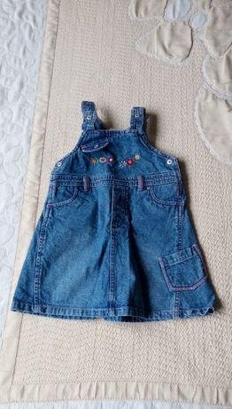 Нова бебешка дънкова рокля - сукман C& A за ръст 92
