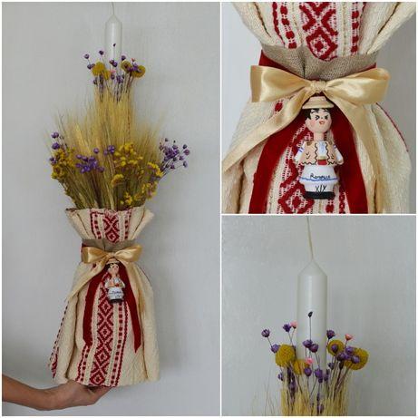 lumanare botez traditional, tema traditionala, motive populare