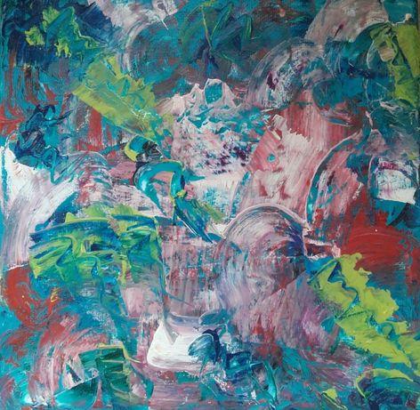 Абстракнта Картина 20х20 см Платно с Маслени Бои