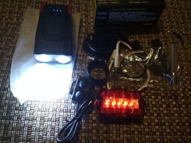 продам на велосипед мощный фонарь с сигналом и задним габаритом