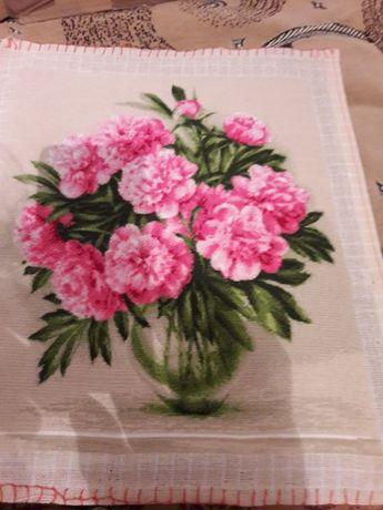 Goblen Bujori roz dim 25 x 30 cm, 16 culori