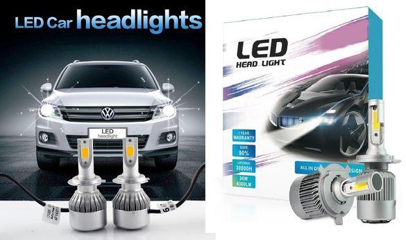 Силни LED Диодни Крушки D2S,H1,H3,H4,H7,HB3,HB4 -72W 8000LM