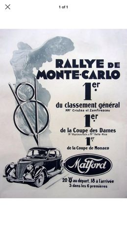 Reclama cartonată masina epoca Ford V8 Raliu Monte Carlo P. Cristea