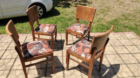 Дървени старовремски столове 4бр. + дамаска (50лв -бр.)