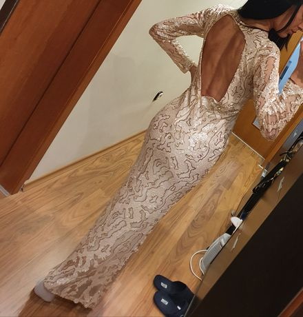 Уникална дълга рокля от паети,тюл и мъниста