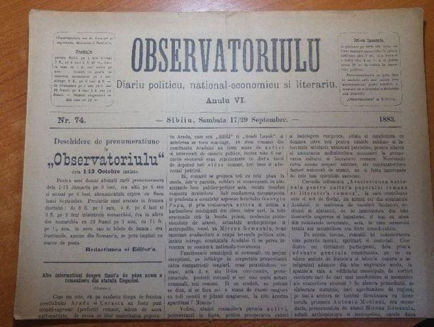 ziarul observatoriulu din anul 1883 -ziar politic,literar din sibiu