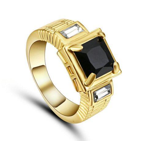 GPR62, inel placat aur 14k, model unisex, zircon alb si negru