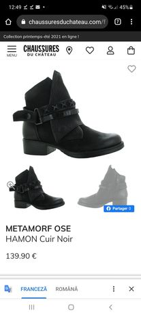 Vând cizme de damă Metamorf'ose, piele naturală, noi, nr.37