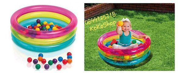 """Детски надуваем басейн с 50 бр. цветни топки-""""Intex"""""""