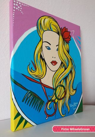 Tablou pictat superb pop art portret fata 3D- design unic