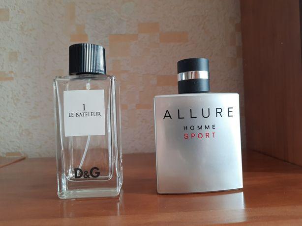 Продам пустые флаконы chanel allure homme sport, D&G le bateleur