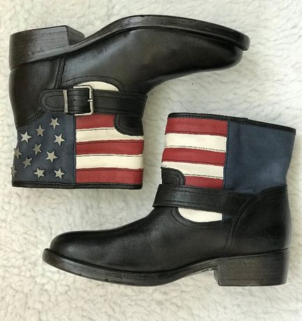 Ghete scurte barbati steag SUA piele stele cizme originale Catwalk 40