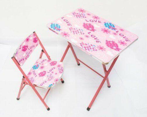 Set masa si scaunel pliabil pentru copii model fetite