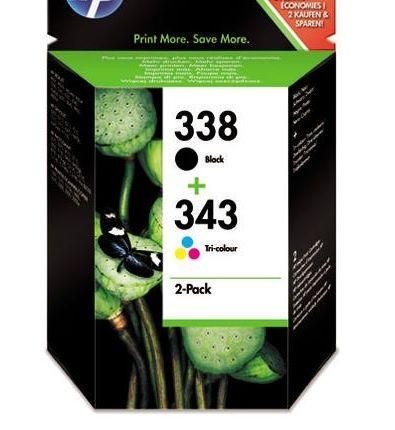 Combo pack HP 338 black si 343 color, nou, original