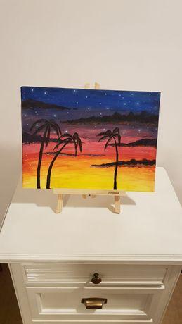 Tablou canvas pictat manual - Tropical Sunset
