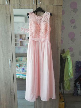 Официална рокля в цвят праскова