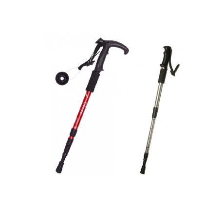Метална щека или бастун за туризъм/сняг телескопична антишок 135 см.