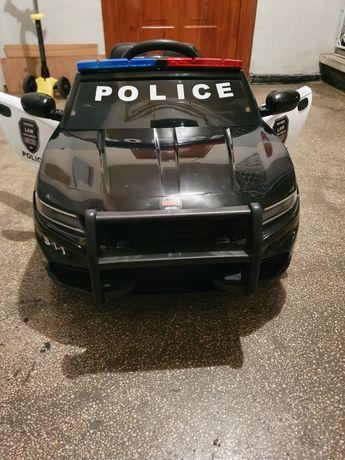 Masinuta electrica Police Patrol cu scaun de piele si roti din cauciuc