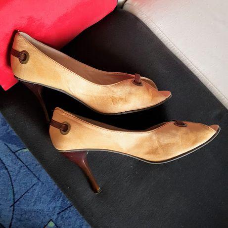 Pantofi din piele camel fumuriu,nr 40=26 cm