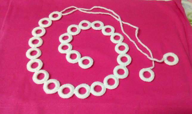 Reducere ! 2 Cordoane albe handmade, crosetate