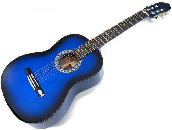 Chitara din lemn clasica corzi metalice 3/4(98cm).Pana si coarda cadou