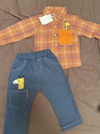 Детски комплект риза с дънки